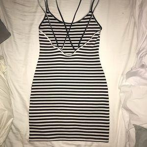 H&M body-con blue and white striped dress